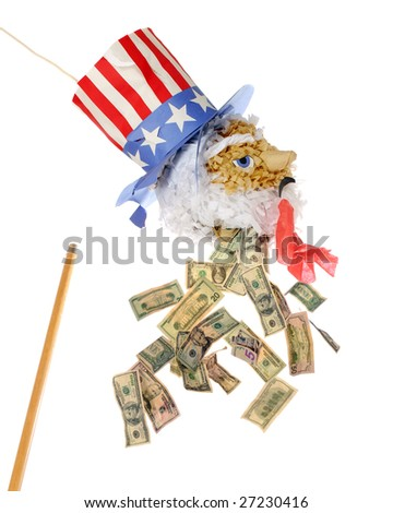 "A broken Uncle Sam pinata ""bleeding"" American dollars.  (Money with motion blur.) - stock photo"