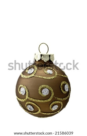 A Bronze colored Christmas Decoration isolated on white - stock photo