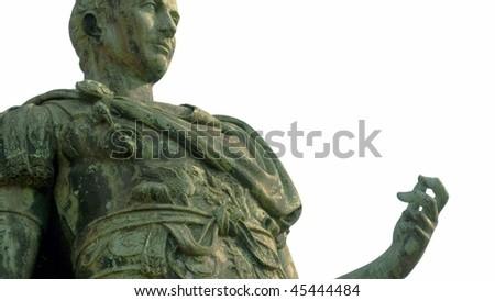 A bronze roman statue of Iulius Caesar in Turin, Italy isolated over white - stock photo
