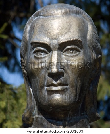 A bronze sculpture from a man's head - stock photo