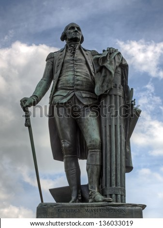 A bronze statue of George Washington at Valley Forge National Historical Park. - stock photo