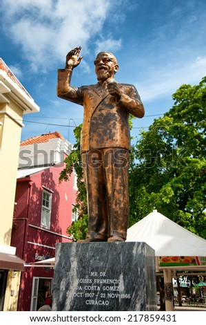 A bronze statue to Dr. Moises Frumencio Da Costa Gomez in Willemstad, Curacao, Netherland Antilles. - stock photo