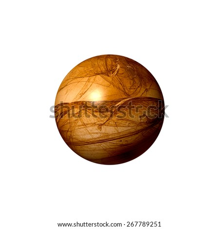 A brown abstract fractal globe on white background. - stock photo