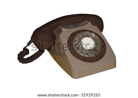 A Brown and Beige Vintage British Dial Telephone.