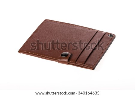 A brown and red leather name tag for employee card(name card) closeup isolated white. - stock photo