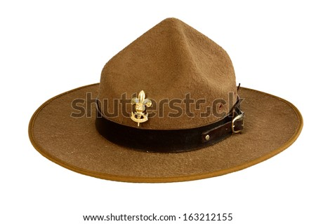 a brown brim hat (hat of boy scout) isolated on white - stock photo