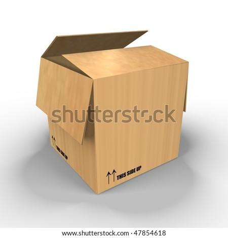 A brown carton box - a 3d image - stock photo