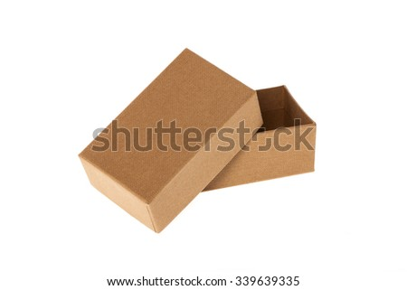 A brown color paper box opened isolated white.