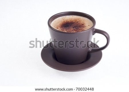 a brown cup of coffe - stock photo