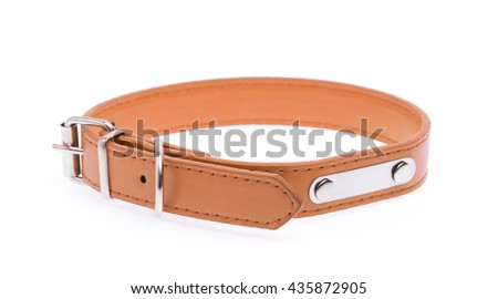 A brown dog collar isolated on a white background