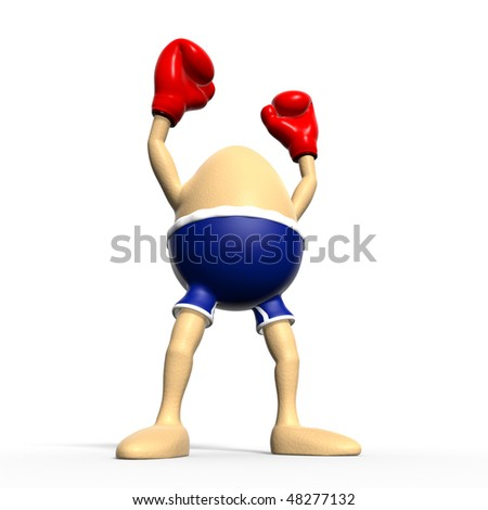 A brown egg with blue boxer-shorts and red boxing-gloves raises both arms after winning a big challenge. Isolated on white background - stock photo