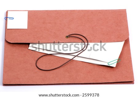 A brown folder for important confidential papers. put your picture here. - stock photo
