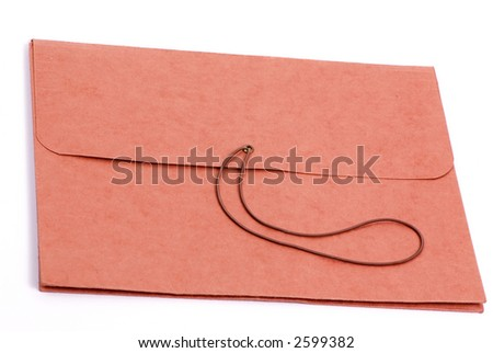 A brown folder for important papers on a white background - stock photo
