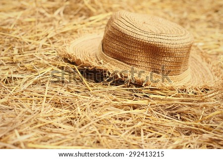A brown hat on a rice straw. - stock photo