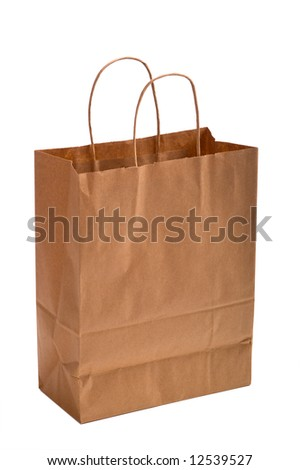 A brown kraft paper bag or sack with copy space on a white background