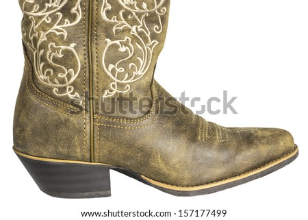 A brown ladies cowboy western boot isolated on a white background. - stock photo