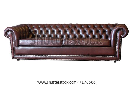 A brown leather sofa - stock photo
