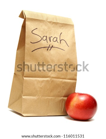 A brown lunch bags prepared specially for Sarah. - stock photo