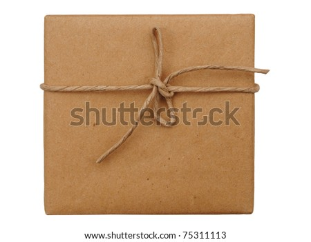 A brown parcel isolated white - stock photo