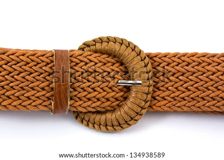 A brown women belts on a white background - stock photo