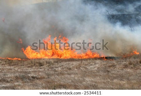 A brush fire moves up a hill - stock photo