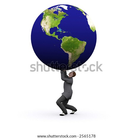 a bsuiness man is lifting a 3d earth