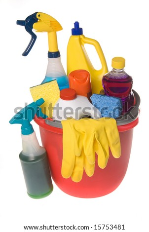 A bucket of cleaning supplies isolated on white.