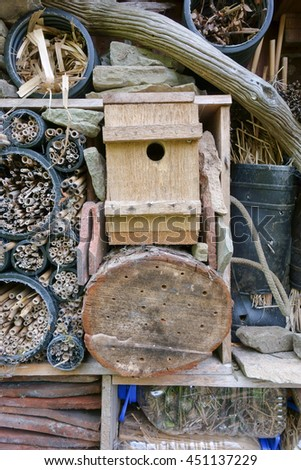 A Bugs Hotel made from recycled materials to attract and provide a habitat for small creatures.