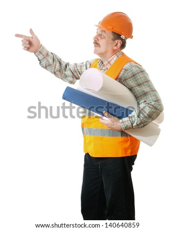 A builder in uniform pointing to the side isolated on white background - stock photo