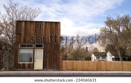 A building faces the main street rural city downtown - stock photo