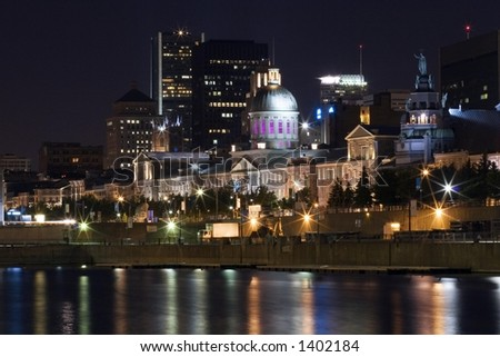A building in the Old port of Montreal at night.