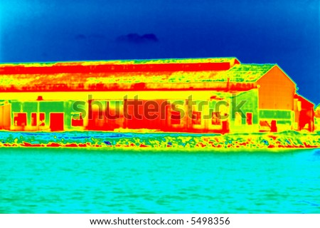 a building with a thermo imaging style applied to it - stock photo