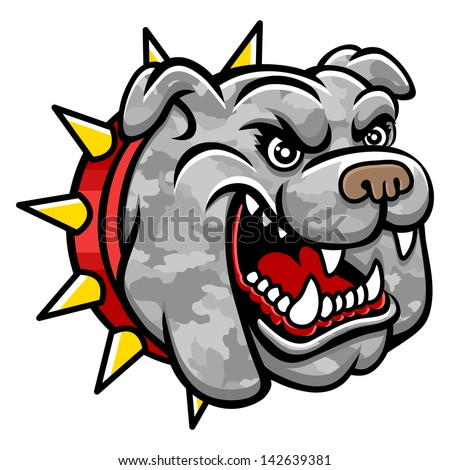 A Bulldog head. Perfect for paintball mascot in a military style. This is illustration ideal for a mascot and tattoo or T-shirt graphic. Raster version, vector file also included in the portfolio. - stock photo