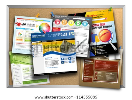 A bulletin board has a variety of template websites hanging up with push pin tacks on a white background. Use it for a technology web design concept. - stock photo