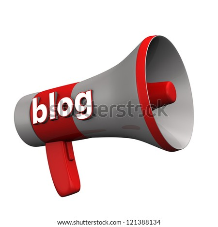 "A bullhorn with the text ""blog"" on the white background."