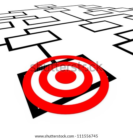 A bulls-eye target on a box in an organization org chart diagram, representing one position or employee being targeted or watched for promotion or elimination - stock photo