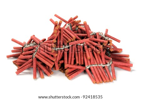A bunch af red firecrackers - stock photo