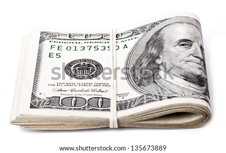 A bunch of 100 American Dollars money notes folded and held together with a simple rubber band. Isolated on white background. - stock photo