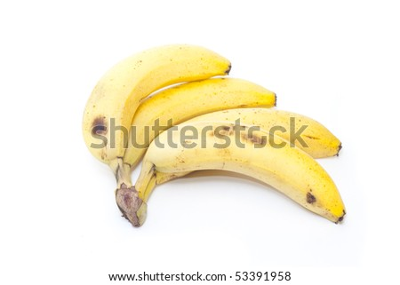 A bunch of bananas isolated in white - stock photo