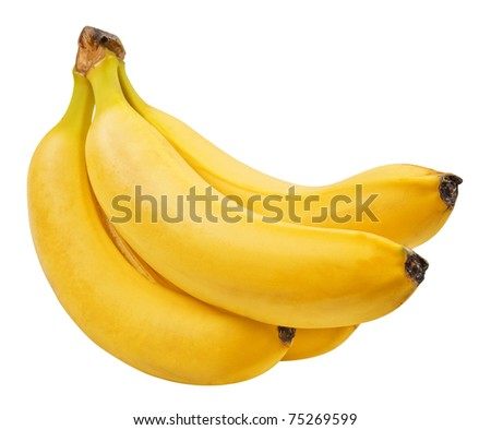 a bunch of bananas isolated on white background - stock photo