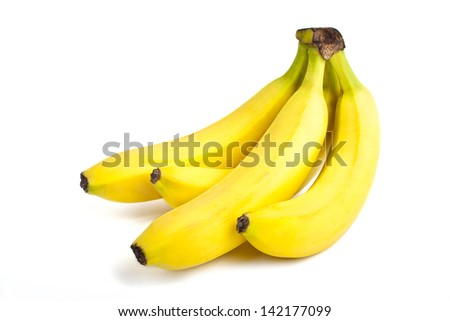 A bunch of Bananas isolated over a white background. - stock photo