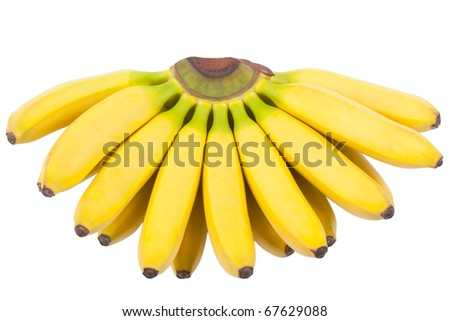 A bunch of bananas isolated over white background - stock photo
