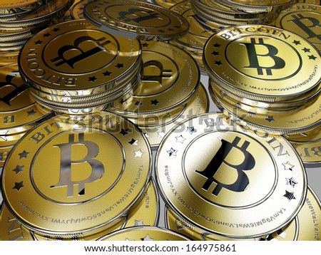 a bunch of bitcoins - bit coin, the new successful virtual money - stock photo