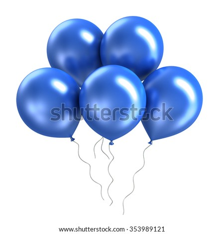 A bunch of bright colorful shiny ballons on white background - stock photo