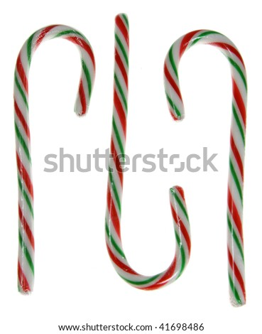 A bunch of candy canes isolated on white.