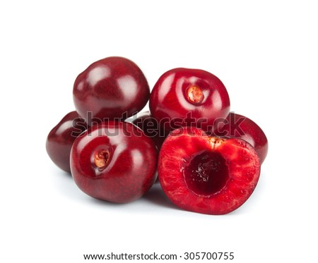 a bunch of cherries isolated on white background