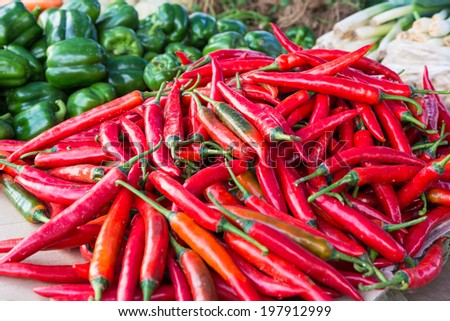 A bunch of chillies and green peppers displayed in a market in Kota Kinabalu, Sabah, Borneo Malaysia - stock photo