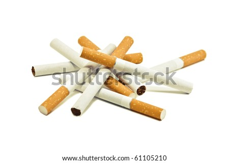 a bunch of cigarettes isolated on white - stock photo