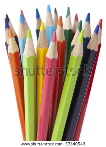 A bunch of color pencils pointing up. - stock photo
