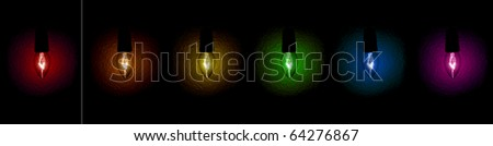 A bunch of colored christmas lights on black - stock photo